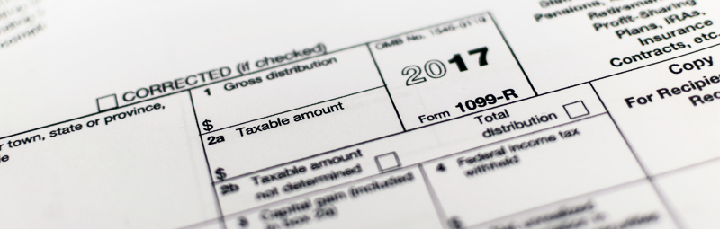 close-up view of 1099-R tax form