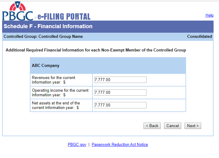 PBGC e-Filling Portal: Schedule F - Financial Information