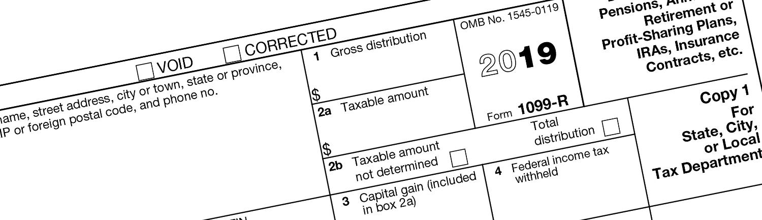 close-up of 1099-R tax form